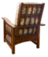 Made from quartersawn English Oak.  The arrangement of slats on the side of the chair comes from a Japanese design; the fabric is a Morris original.