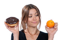 Woman trying to decide what to snack on