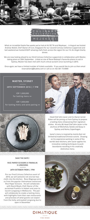 Culinary Collective by Mejekawi. Monthly newsletter for Mejekawi by KU DE TA, Bali