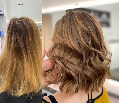 Balayage/Gloss before /after