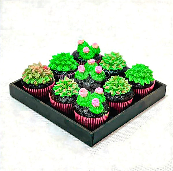 Cup cakes suculentas y cactus
