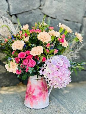 Jar Mini Rosas, Hortencias, Verónicas, Pampa y Claveles