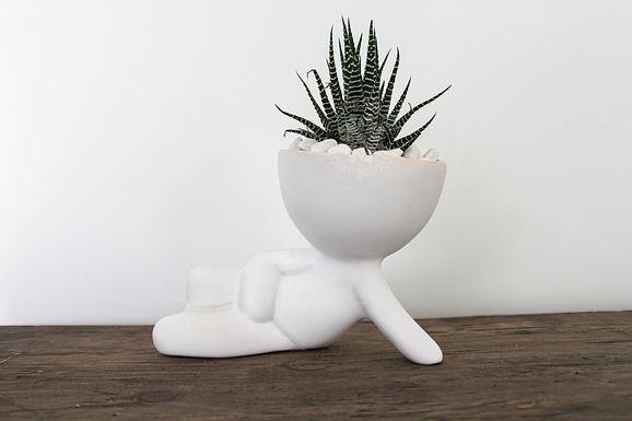 Suculenta con muñeco de cerámica