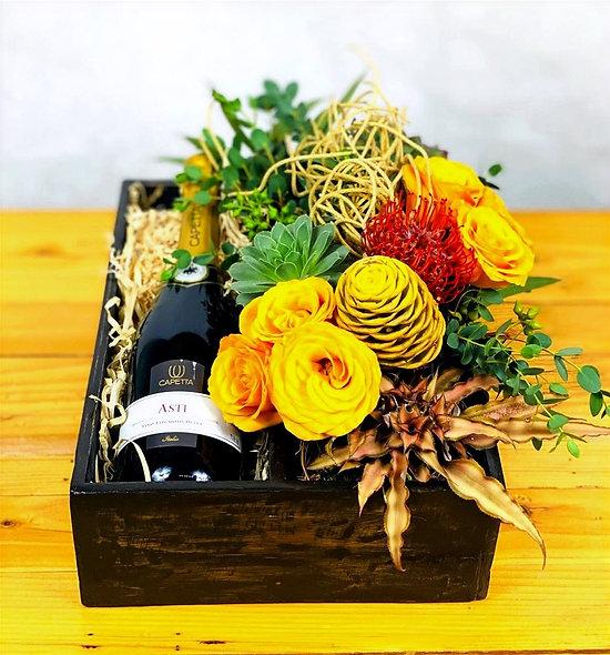 Rosas, suculentas, leucospermum, cordifolium, maraca, vino