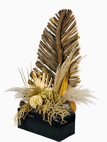 Hoja de varas, variedad de flores secas y preservadas