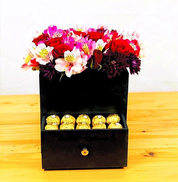 Rosas, alstroemeria, crisantemos, chocolates