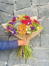 Bouquete crisantemos y statice