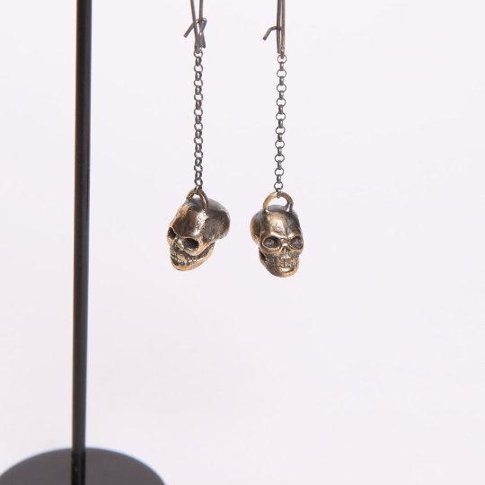 SCA Brass Skull Earrings