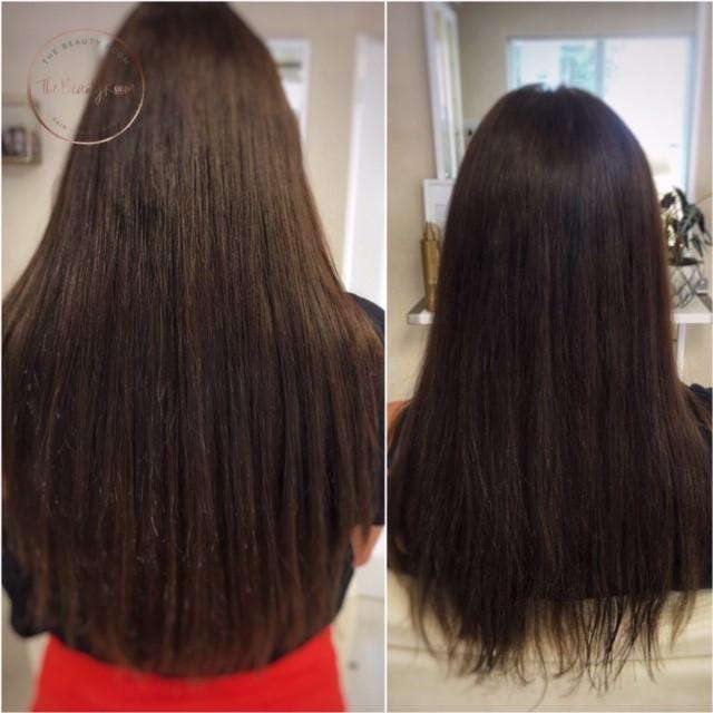 Hairextensions voor en na