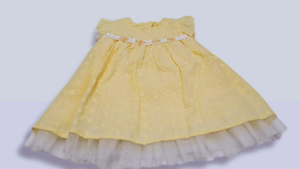 Yellow Flutter Eyelet Dress