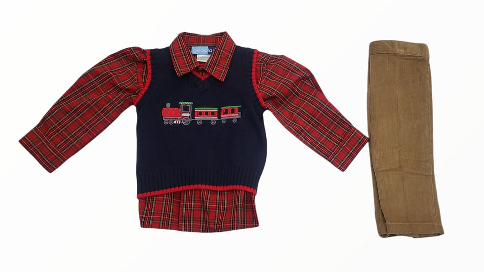 Navy Train Applique Sweater
