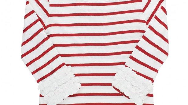 White & Red Stripe Ruffle Long Sleeve Tee