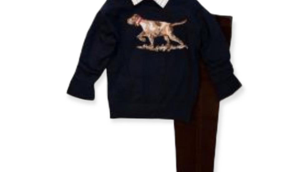 Boys Navy Dog Intarsia Sweater Set