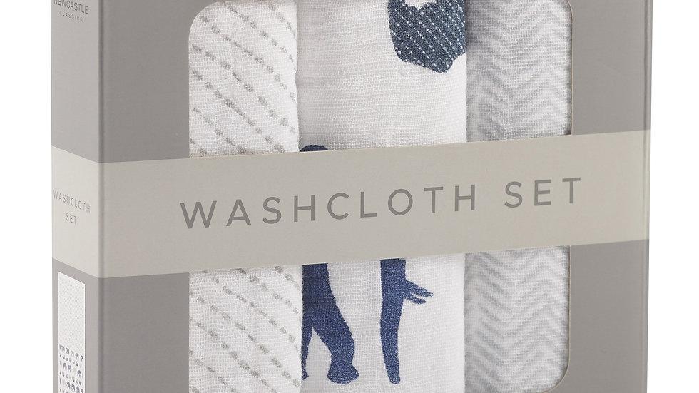 In the Wild Elephant Cotton Washcloth Set 3PK