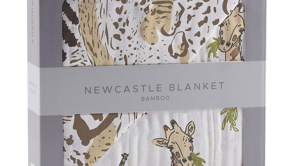 Hungry Giraffe and Animal Print Bamboo Muslin Newcastle Blanket