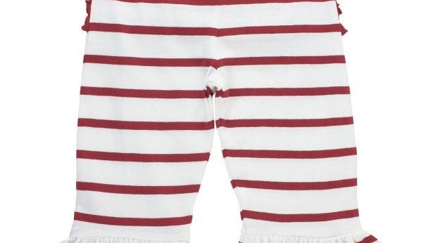 Cranberry Stripe Ruffle Pant