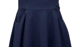 Navy Side Pocket Scuba Dress