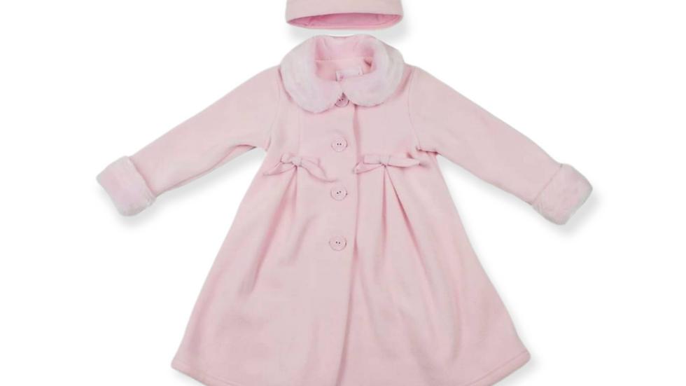 Pink Dressy Fleece Coat with Fur Trimmed Hat