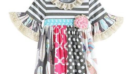 Gray & Pink Stripe Polka Dot Lace Trim Dress