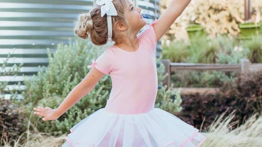 Short Sleeve Pink & White Tutu Leotard