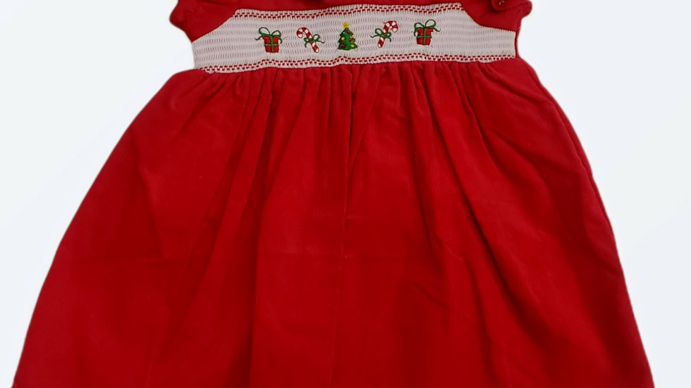 Smocked Red 2 Piece Christmas Dress