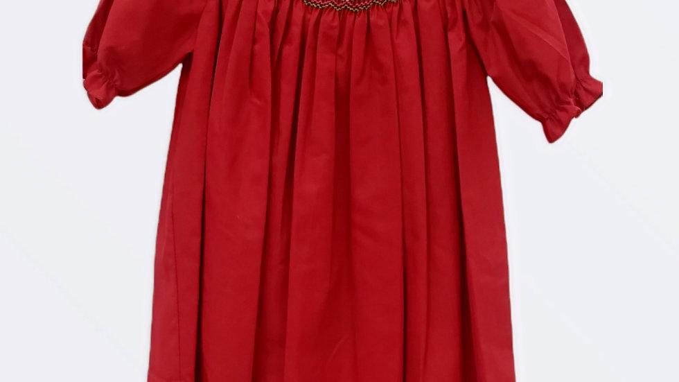 Smocked Red Christmas Bishop Dress