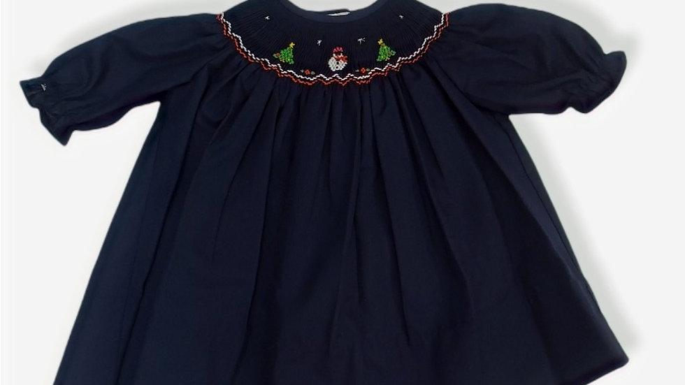 Navy Christmas Smock Dress