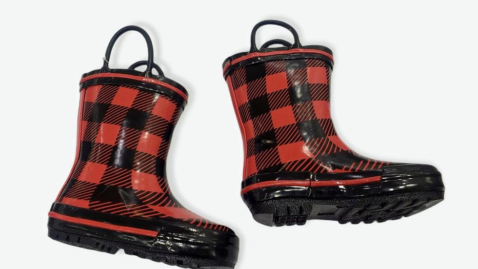 Red Plaid Rainboots