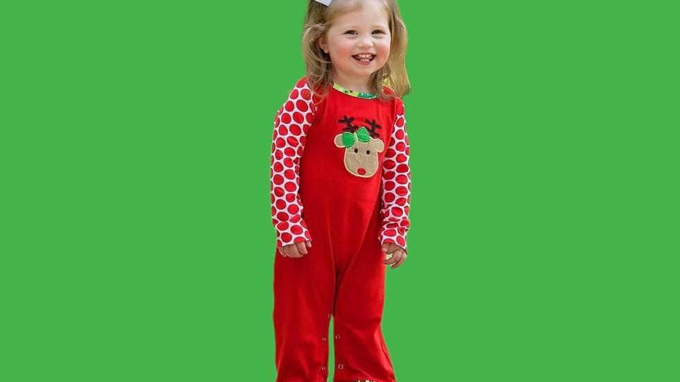 Christmas Reindeer & Polka Dot Romper