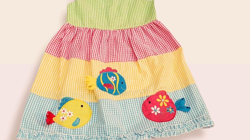 Multi Color Seersucker Dress with Fish Applique