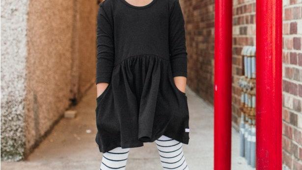Girls black twirl bow back dress
