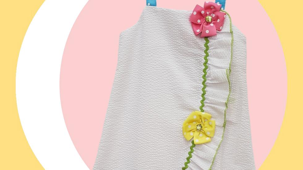 White Seersucker Dress with Flowers