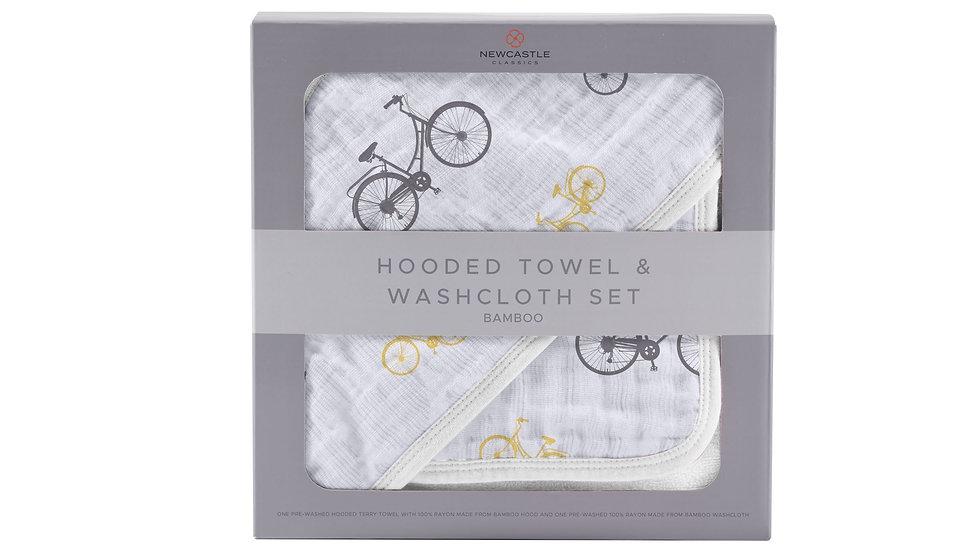 Vintage Bicycle Bamboo Muslin Hooded Towel and Washcloth Set