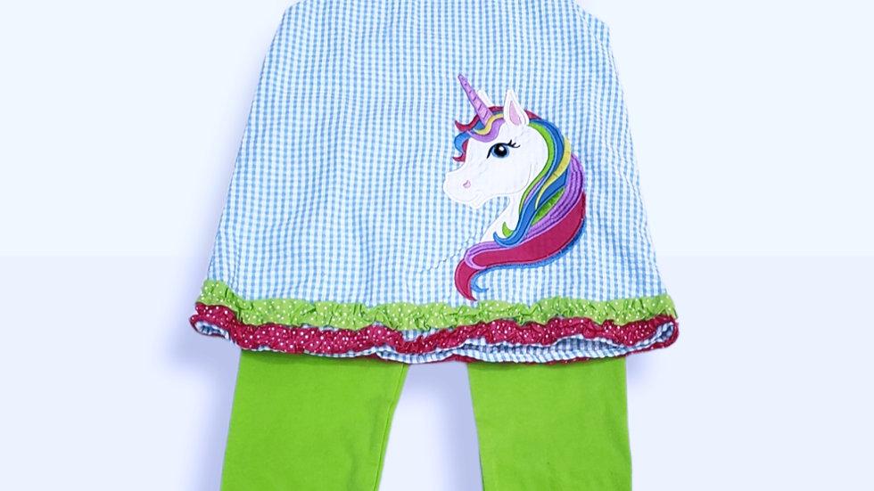 Turquoise Check Seersucker Capri set/Unicorn
