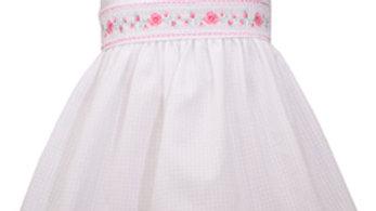 Infant pink roses smocked ruffle dress
