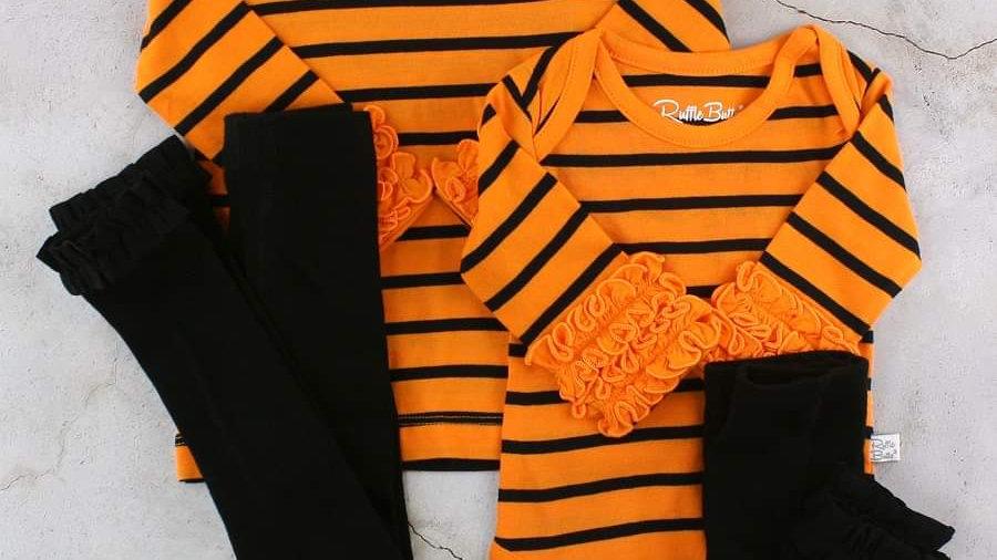 Orange & Black Stripe Ruffle Bodysuit