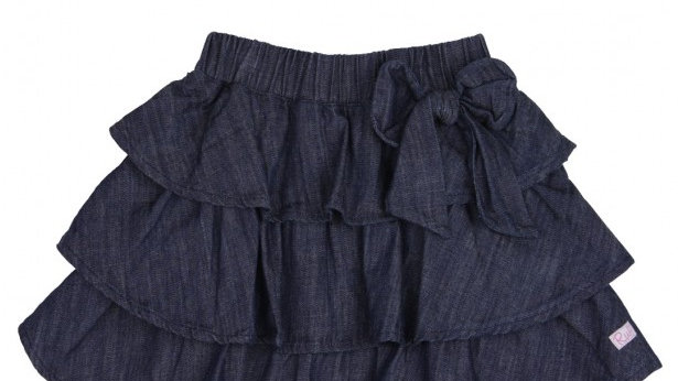 Ruffled Dark Wash Denim Bow Skirt