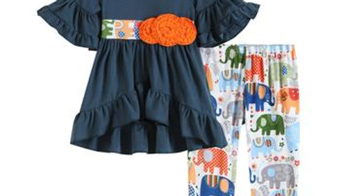 Cobalt & Orange Elephant Dress & Pants