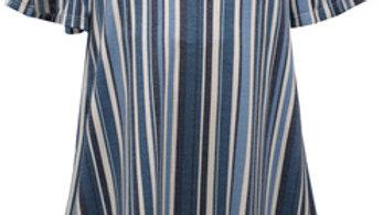 Blue Stripe Bell Sleeve Dress