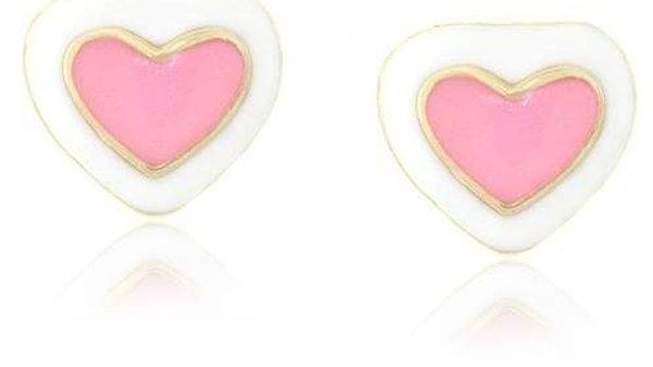 Pink & White Heart Earrings