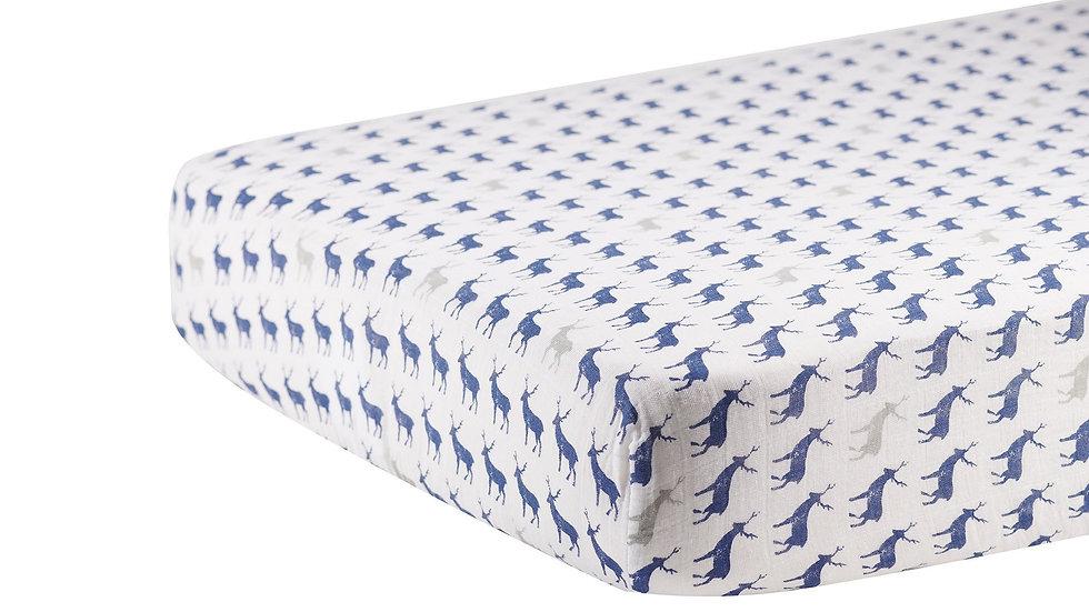 Blue Deer Cotton Muslin Crib Sheet