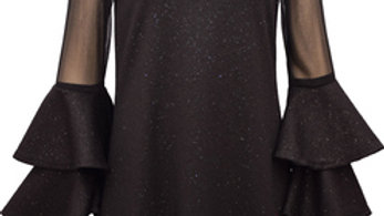 Black Double Bell Sleeve Dress