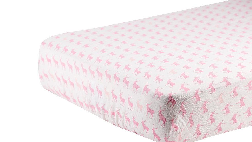 Pink Deer Cotton Muslin Crib Sheet
