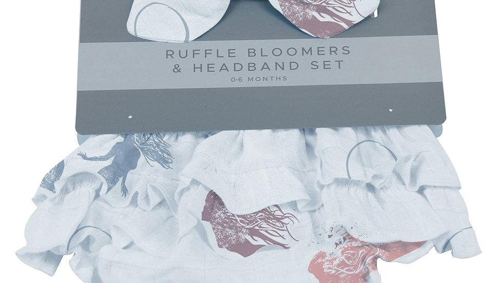 Mermaids Ruffle Bamboo Bloomer Headband Set