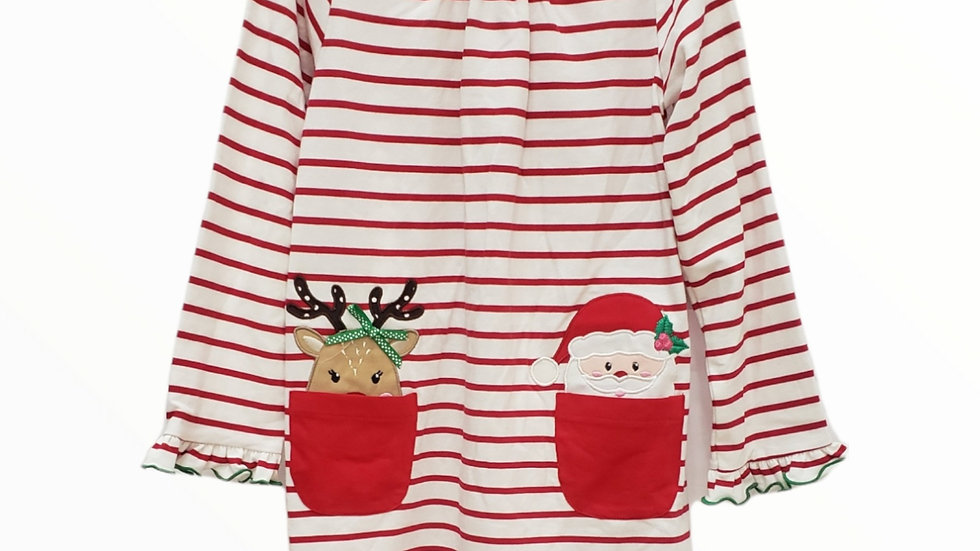 Striped Reindeer & Santa Applique Dress