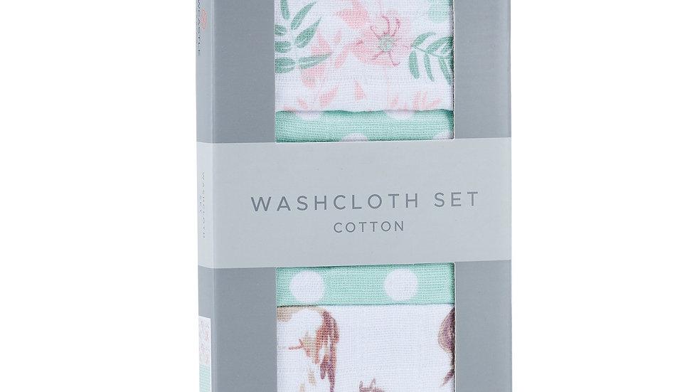 Horses and Roses Cotton Washcloth Set 3PK