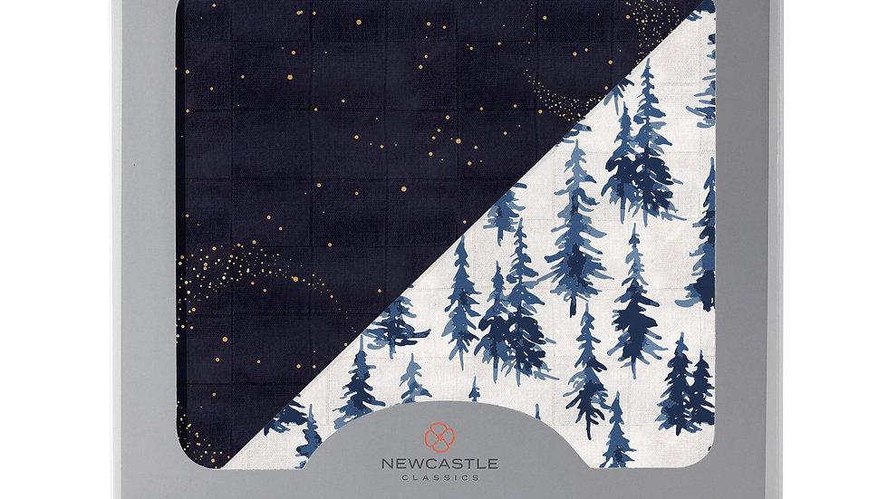 Midnight Moon and Indigo Forest Bamboo Muslin Newcastle Blanket