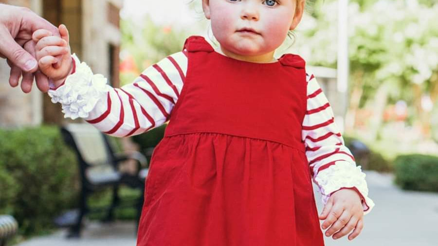 Red Corduroy Jumper Dress with Bow