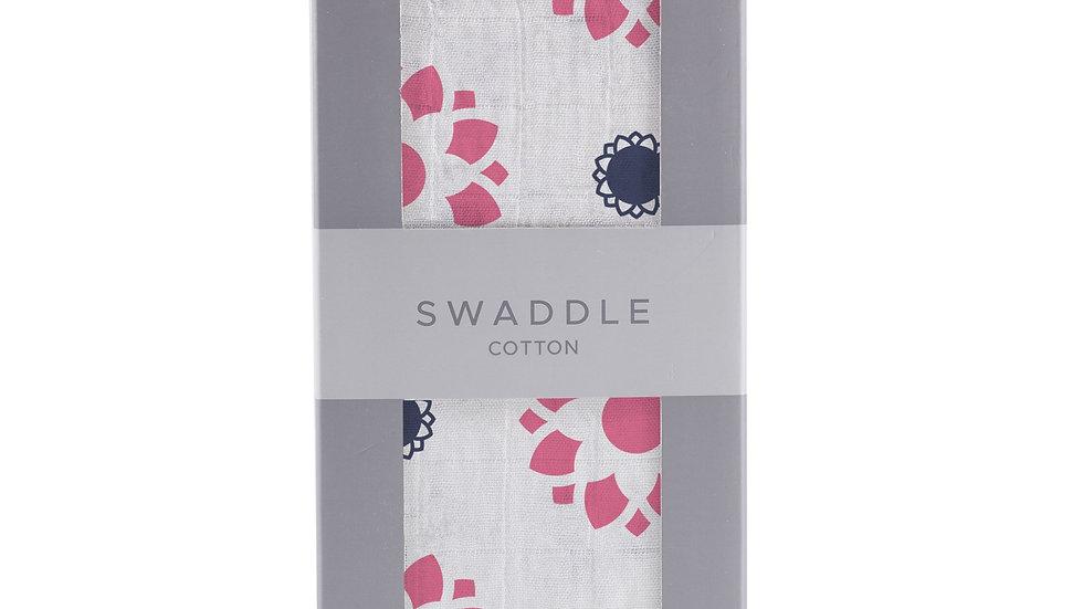 Primrose Indigo Cotton Muslin Swaddle