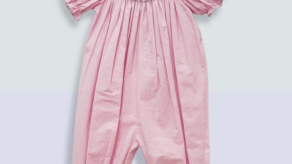 Pink & White Smocked Jumper with Elephants